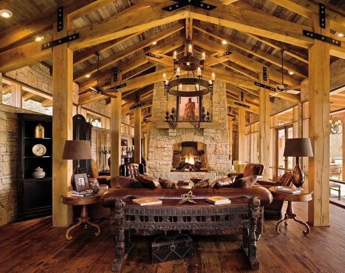 fincas rusticas salon todo madera muebles cuero
