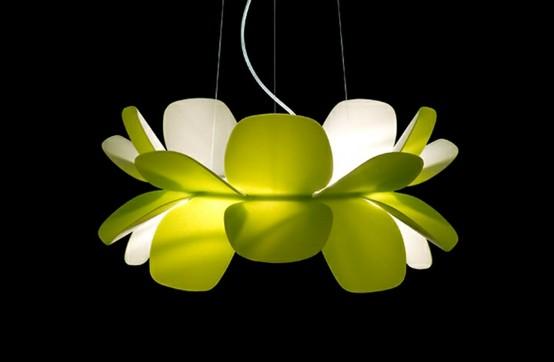 flor colgante lampara verde