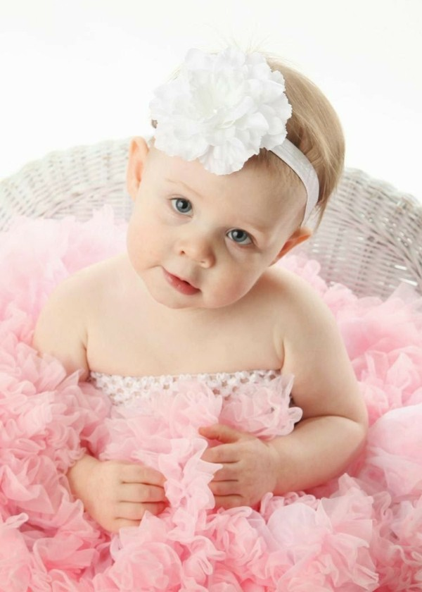 flor gigante blanca diadema bebe