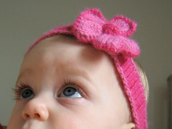 flor rosa diadema lana