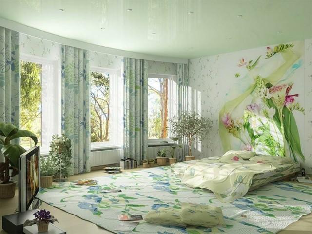 flores cortinas macetas plantas verde tonos