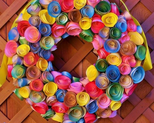flores papel guirlanda decorativa moderna puerta
