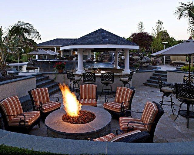 fogata candela patio exterior redonda