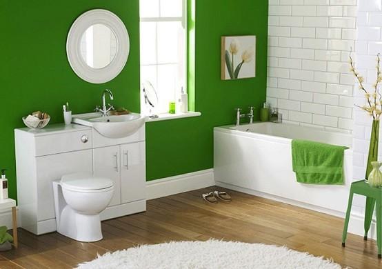 Baños Modernos Verdes:Baños modernos, oasis de color y descanso