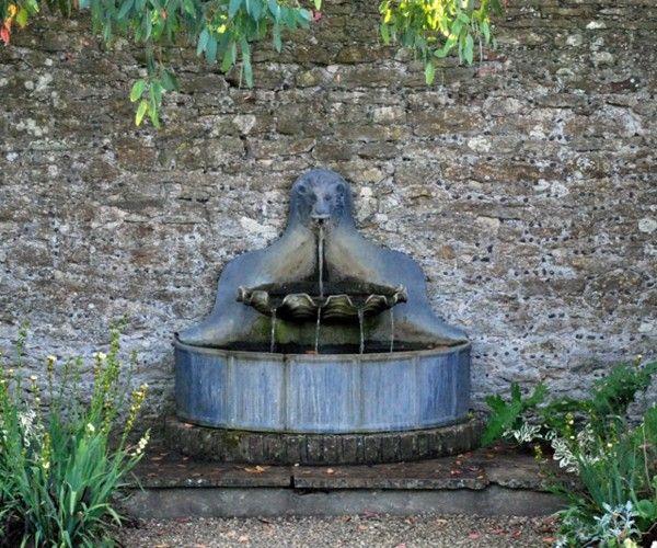 fuente jardín bonita piedra pared