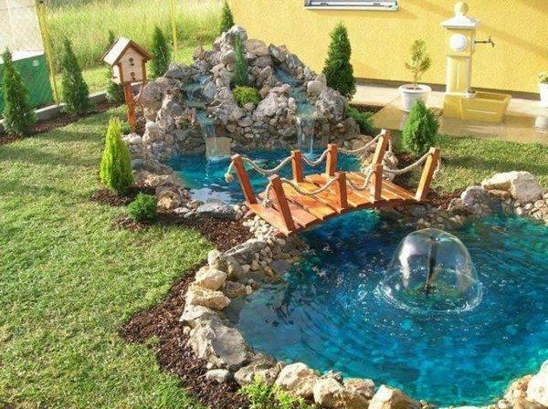 fuente jardín estanque azul puente