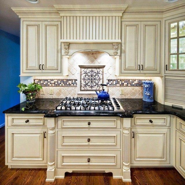 granito negro moderno muebles blancos lujo bonita cocina