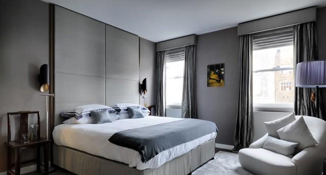 gris cama lamparas mesa moderno pintura