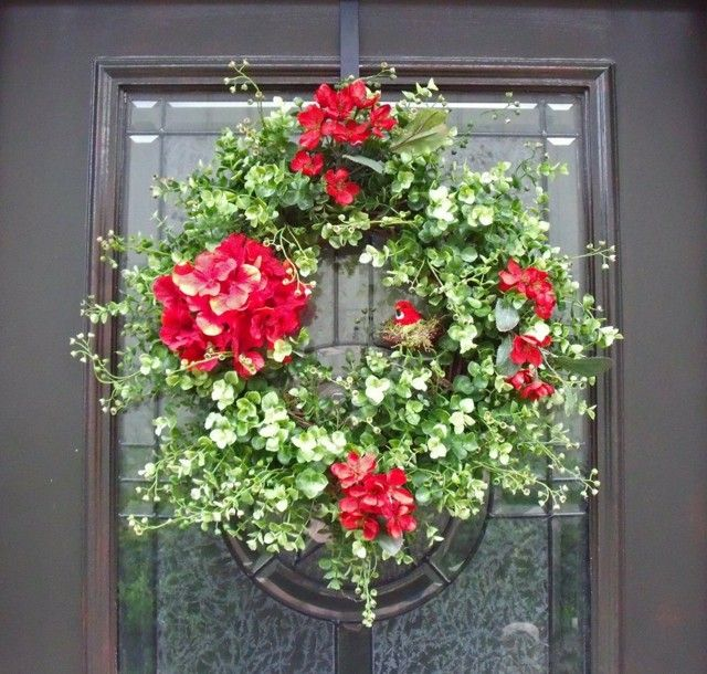 guirnalda flores decoracion moderna puerta hogar