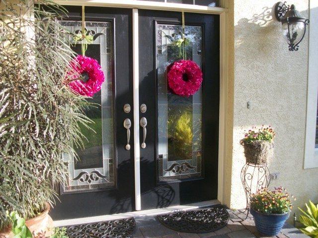 guirnaldas flores rosas dos decorar puerta moderna