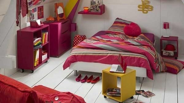 habitación adolescente rosa oscuro rojo