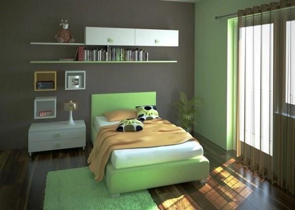 habitación adolescente verde jade gris