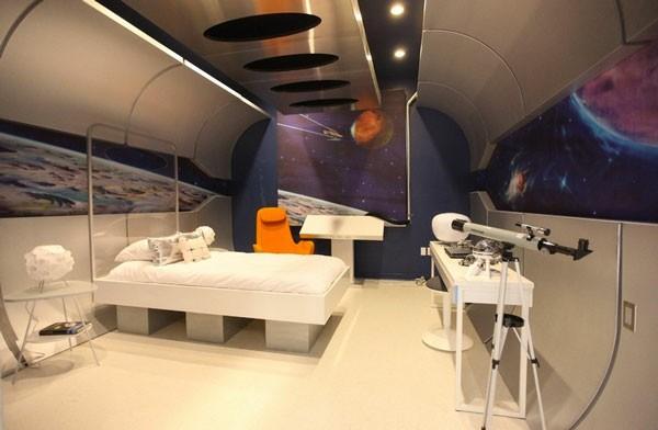 habitación astronauta espacio planetas moderna