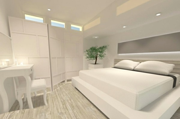 Decoracion habitaciones blancas for Cama blanca