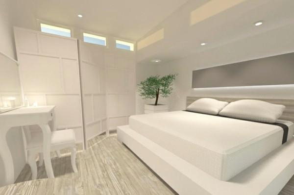 habitación blanca cama blanca planta