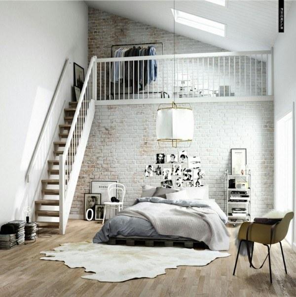 habitación blanca planta alta escaleras