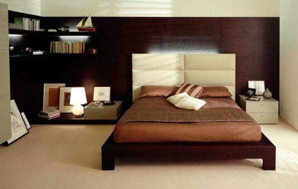 habitación cabecero grande madera moderno