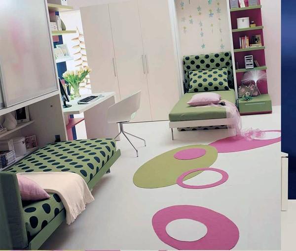 habitación chicas camas verdes lunares