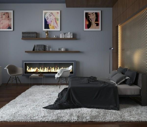habitación chimenea rectangular gris moderna