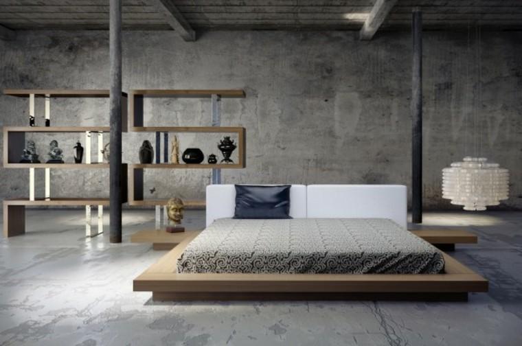 habitación cuarto dormitorio gris minimalista