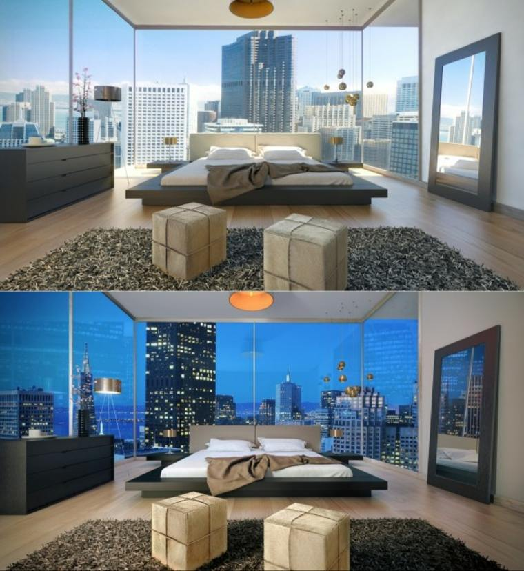 habitación diseño moderno espaciosa atardecer