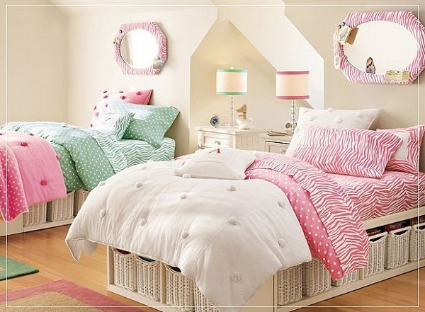 habitación doble chicas jóvenes rosa