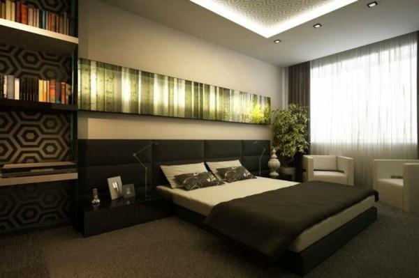 habitación estilo moderno lujosa oscura