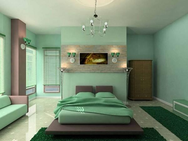 habitación juvenil color verde jade