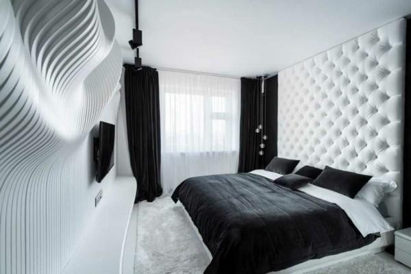 habitación moderna blanco negro relieves