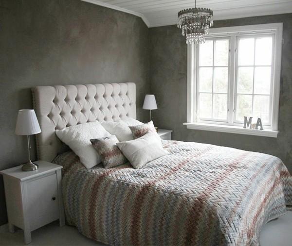 habitación moderna pared gris blanco