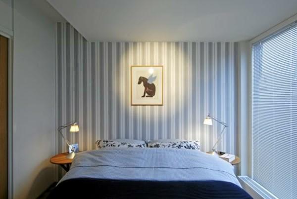 habitación pared bandas azules perrito