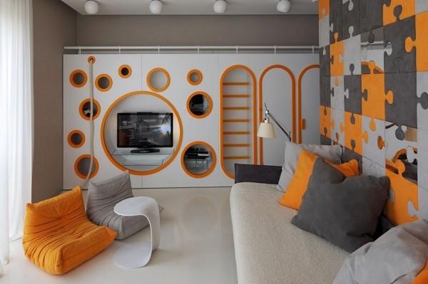 habitación puzle naranja gris moderna