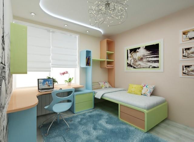habitaciones juveniles chica joven verde azul moderno