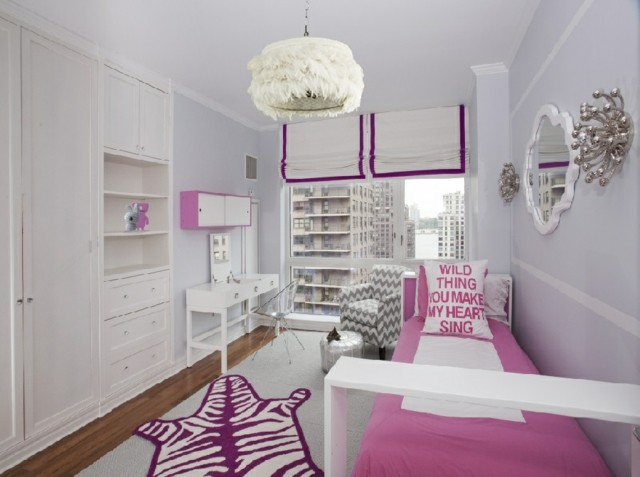habitaciones juveniles rosa blanco alfombra estampa estrecho