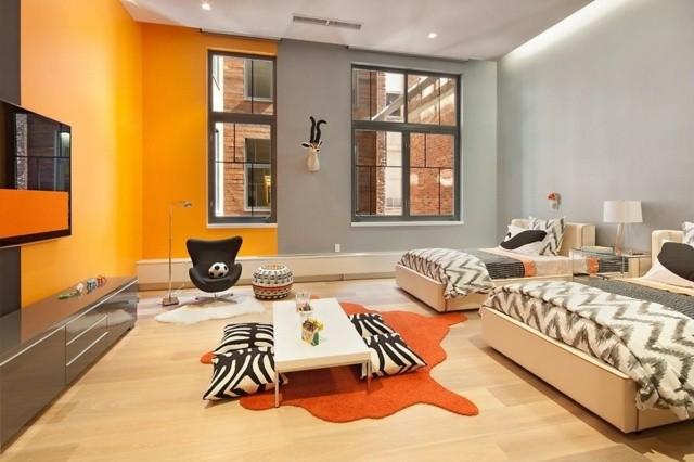 habitacion juvenil estilo combinacion naranja