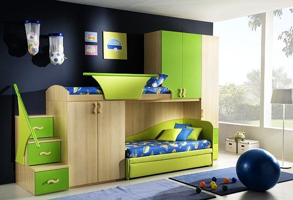 habitacion juvenil verde claro alfombras pared oscura