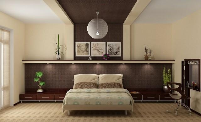 habitacion moderna lampara diseño plantas