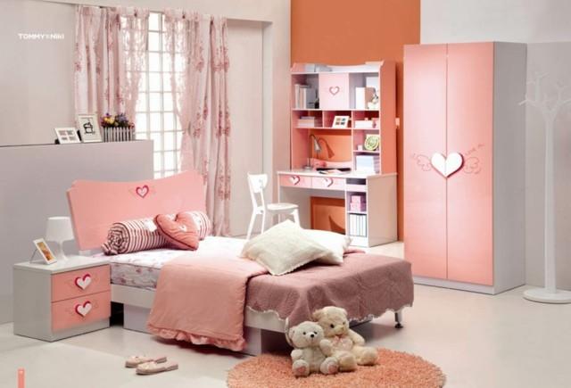 habitacion niña rosa salmon gris