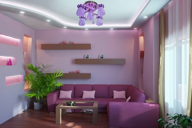 lámparas led habitacion purpura iluminacion bonita interesnte