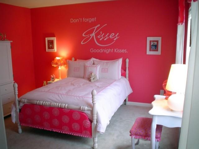 habitacion rosa pintura pared kisses
