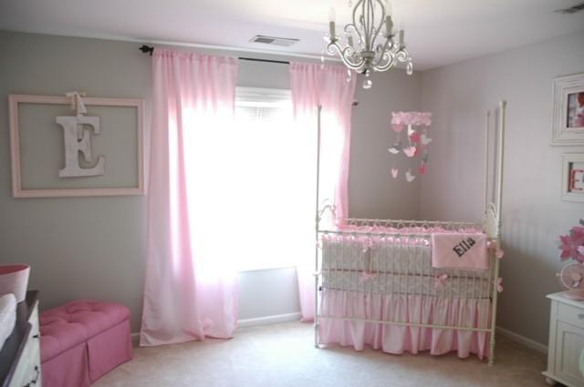 habitaciones de bebe cortinas rosa moderno paredes gris