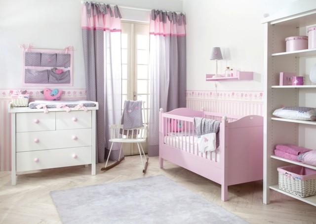 habitaciones de bebe cuna rosa colores bonita claros