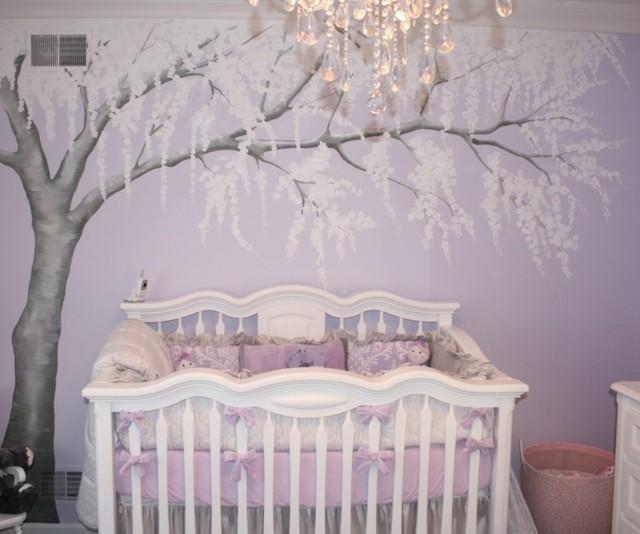 habitaciones de bebe dibujo arbol bonito pared