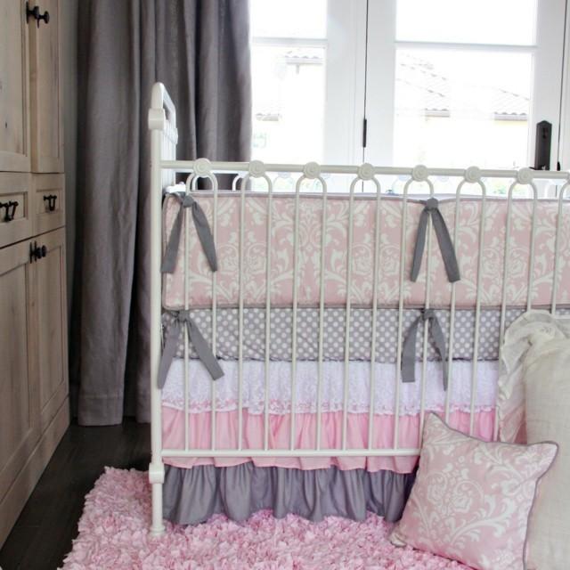 habitaciones de bebe lazos gris ropa cama puntos moderna