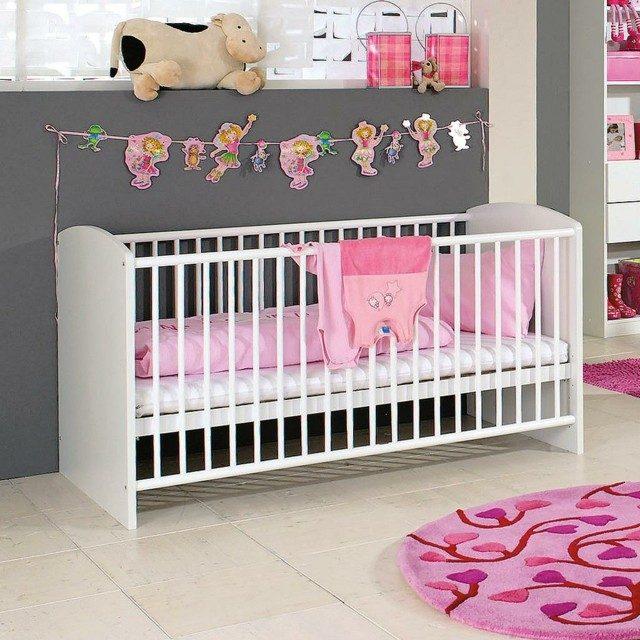 habitaciones de bebe peluche vaca pared gris sabanas bonita rosa