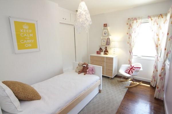 habitaciones juveniles color blanco silla mecedora