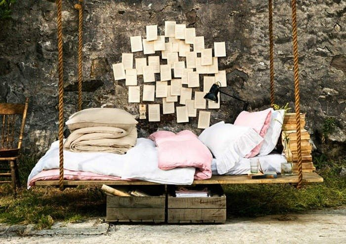 hamaca colgante cama exterior cojines