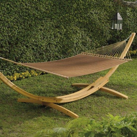 hamaca colgante jardin madera arqueada