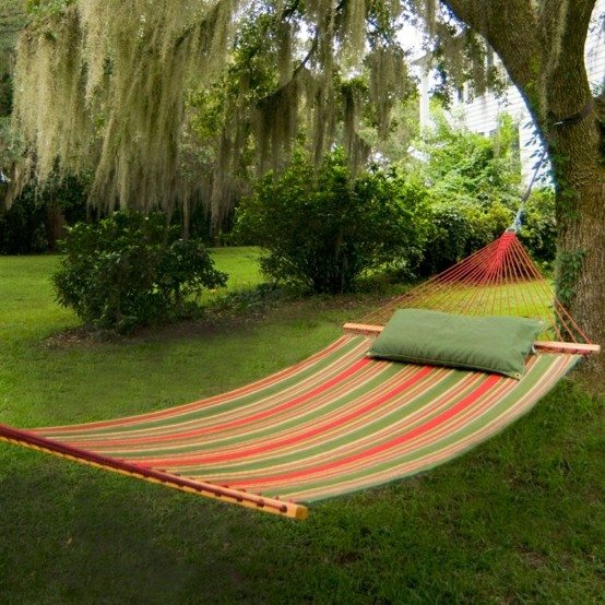 hamaca jardin colgante tela almohada tejido