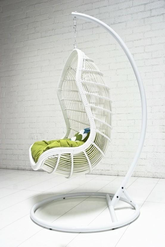 hamaca silla metal colgante blanca cojin
